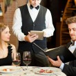 Stock Photo: Dinner in a restaurant