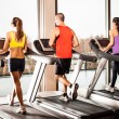 Stock Photo: Running on treadmills
