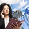 Busy businesswoman portrait — Stock Photo