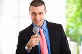Microphone man — Stock Photo