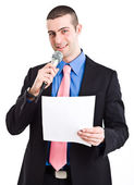 Microphone man — Stock Photo