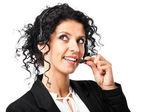 Mujer auricular — Foto de Stock
