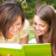 Students reading a book — Stock Photo #24040095