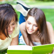 Two beautiful students reading a book on the grass — Stock Photo