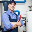 Hot-water heater service — Stock Photo