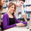 Students using a laptop — Stock Photo
