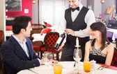 Dinner in a luxury restaurant — Stock Photo