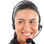 Beautiful young call center operator woman — Stock Photo