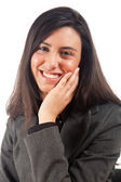 Beautiful young call center operator woman — Stock Photo