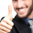 Portrait of a successful businessman with thumbs up — Stock Photo #29923053