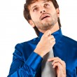 Businessman adjusting his collar — Stock Photo