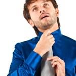 Businessman adjusting his collar — Stock Photo