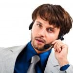 männlichen Journalisten tragen von Kopfhörern — Stockfoto
