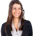 Young beautiful call center female operator — Stock Photo
