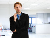 Pensive businessman portrait — Foto Stock