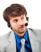 Handsome call center male operator — Stock Photo