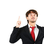 Businessman pointing his finger up — Stock Photo