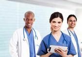Nurse using a digital tablet — Stock Photo