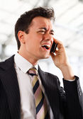 Screaming at the phone — Stock Photo