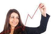 Empresaria escribiendo un gráfico con un bolígrafo rojo, aislado en blanco — Foto de Stock