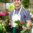 Happy gardener in a greenhouse holding flowers — Stock Photo
