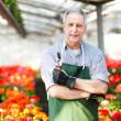 Handsome mature gardener portrait in a greenhouse — Stock Photo