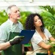 Workers examining plants in a greenhouse — Stock Photo #30024981