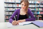 Portrait of a student in a library — Stock Photo