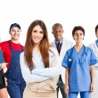 Woman in front of a group of workers — Stock Photo
