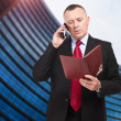 Mature businessman taking notes in his office at the phone — ストック写真