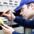 Portrait of an electrician at work — Stock Photo