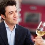 Man analyzing a glass of wine — Stock Photo