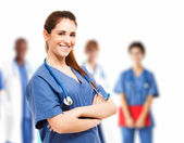 Nurse and her team — Stock Photo