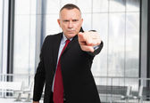Businessman pointing his finger to you — Stock Photo