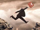 Jumping businessman — Stock Photo