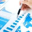Stockfoto: Examination of stock market report