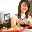Stock Photo: Woman having dinner
