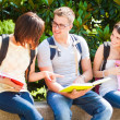 Students talking in a park — Stock Photo