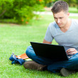 Young man using his laptop on the grass — Stock Photo #30861075