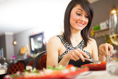 Woman having dinner — Stock Photo