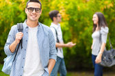 Students in a park — Stock Photo