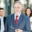 Three business people outdoor — Stock Photo