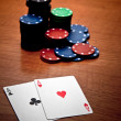 Two aces in a poker match — Stock Photo