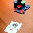 Two aces in a poker match  — Photo