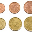 Complete set of eurocent coins — Stockfoto