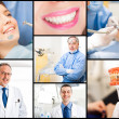 Collage of dental healthcare related images — Stockfoto