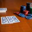 Poker chips and play cards  — Stock Photo