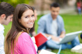 Group of students studying outdoors — Stockfoto