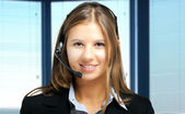 Smiling customer representative — Stok fotoğraf