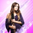 Young woman playing an electric guitar — Stock Photo